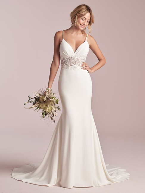 Item - Ivory Crepe and Lace Cody Modern Wedding Dress Size 12 (L)