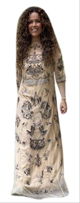 Item - Beige Pink New Semi Sheer Beaded Embroidered Medium Large Long Cocktail Dress Size 12 (L)