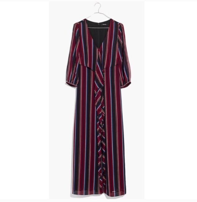 Item - Red Black Blue Wrap Around Long Casual Maxi Dress Size 2 (XS)