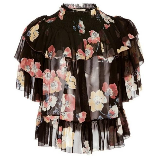 Item - Black Liv Silk Ruffle Floral Tiered Blouse Size 6 (S)