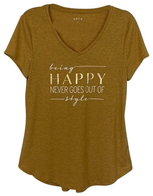 Item - Yellow Being Happy Never Goes Out Of Style Tee Shirt Size 8 (M)