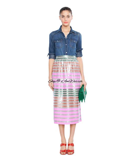 Item - Sand Pink Green Brown Collection Multi Striped Sequin Skirt Size 4 (S, 27)