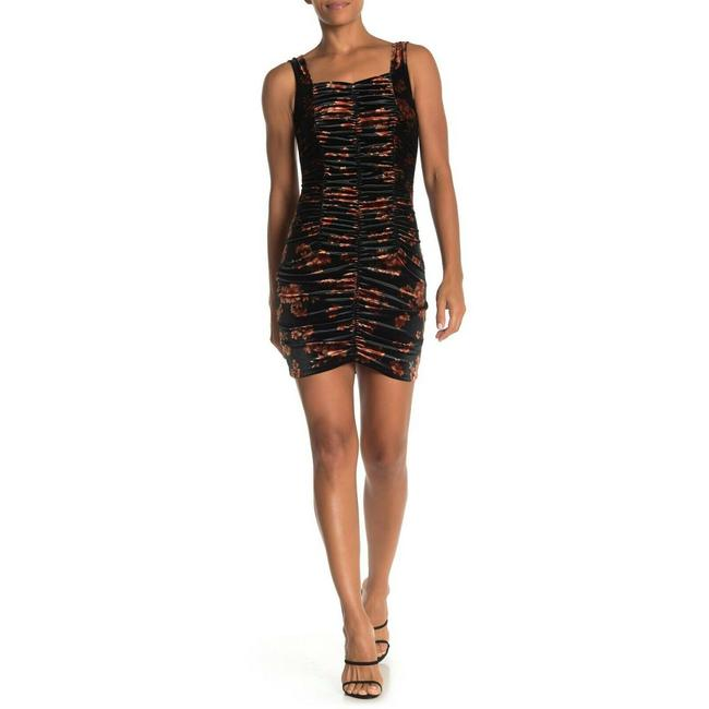 Item - Black S Small Sleeveless Ruched Bodycon Mini Floral Velvet Short Cocktail Dress Size 4 (S)