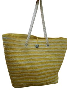 YELLOW AND WHITE Beach Bag