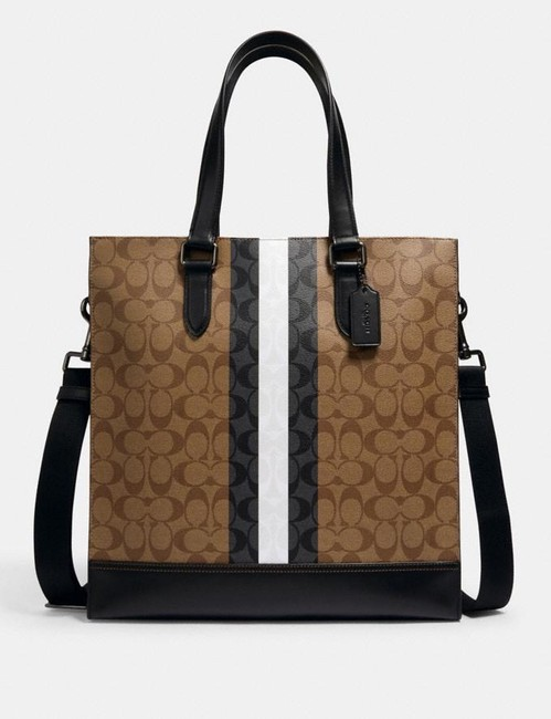 Item - Graham Structured Tote In Signature Canv Black.brown..white Leather Satchel