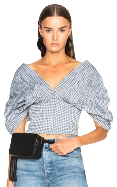 Item - Grey Smocked Crop Bustier/Top Blouse Size 4 (S)