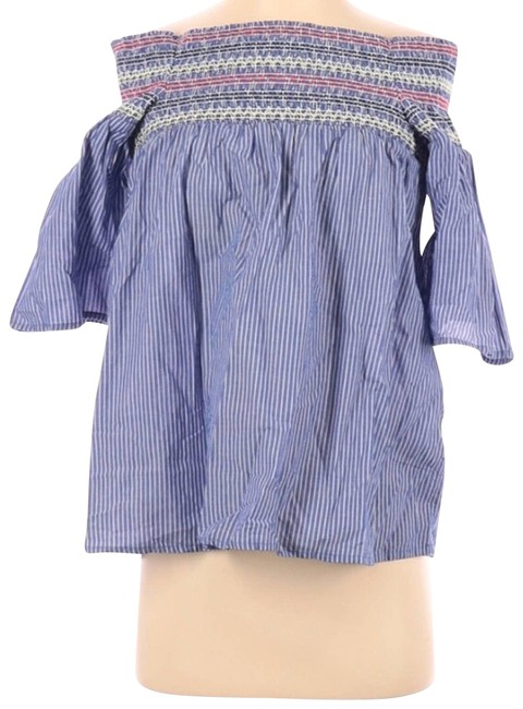Item - White Beach Lunch Lounge Short Sleeve Blouse Size 14 (L)
