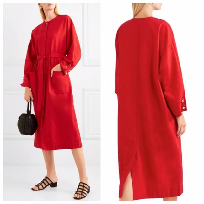 Item - Red Embellished Cotton Poplin Mid-length Casual Maxi Dress Size OS (one size)