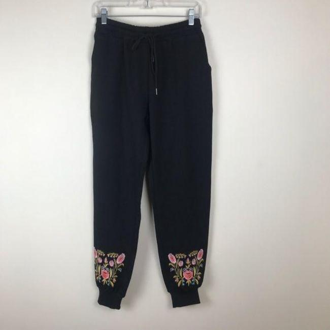 Item - Black Solitaire Floral Embroidered Joggers Pants Size 8 (M, 29, 30)