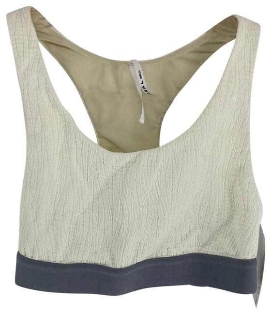 Item - White Gauzy Gray Tax Banded Womens Small Activewear Sports Bra Size 4 (S, 27)