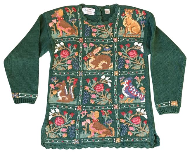 Item - 80's Hand Knitted Floral Animal Green Multi Sweater