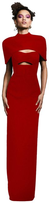 Item - Red Cape Effect Gown Long Formal Dress Size 6 (S)