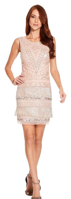 Item - Pink and Silver Beaded Fringe Mid-length Cocktail Dress Size 14 (L)