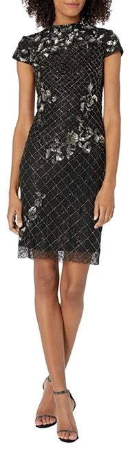 Item - Black and Silver Mock Neck Beaded Mid-length Cocktail Dress Size 14 (L)