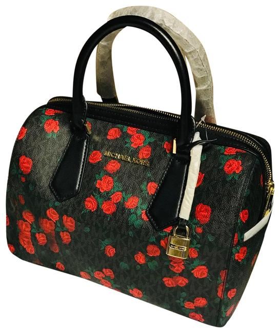 Item - Duffle New Rare Black and Red Roses Leather/ Pvc Cross Body Bag