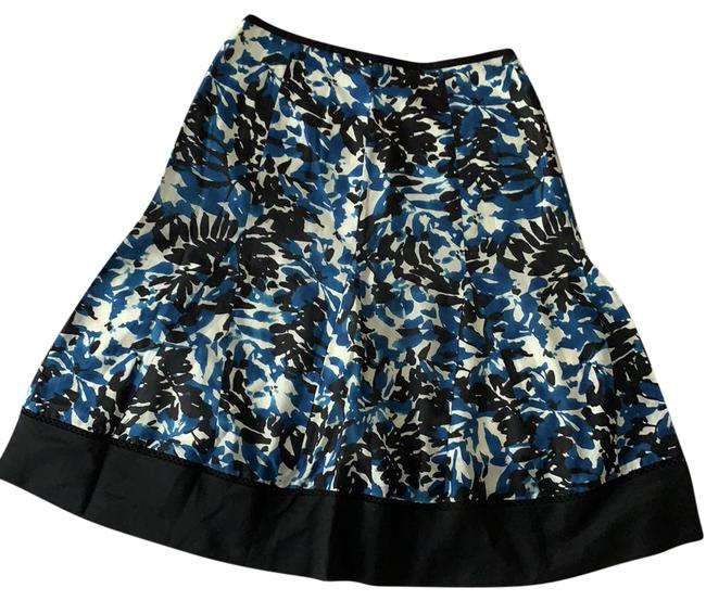 Item - Blue Floral Silk And Skirt Size Petite 2 (XS)