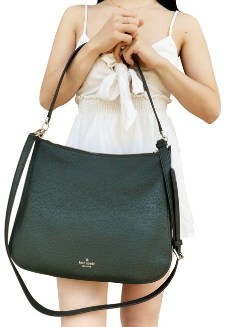 Item - Kailee Toss Medium Double Compartment Deep Evergreen Leather Shoulder Bag