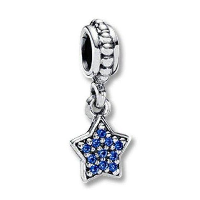Item - Blue Silver Crystal Pave Dangle Star Charm