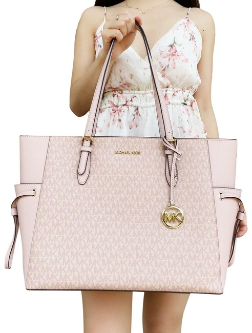 Item - Gilly Drawstring Large Top Zip Ballet Mk Signature Pink Leather Tote