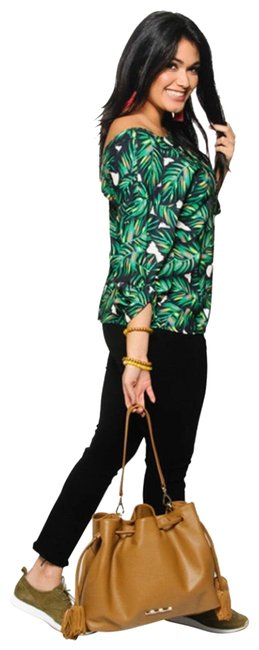 Item - Green White Pink and Black. Paula Psycho Tropical Print Blouse Size 8 (M)
