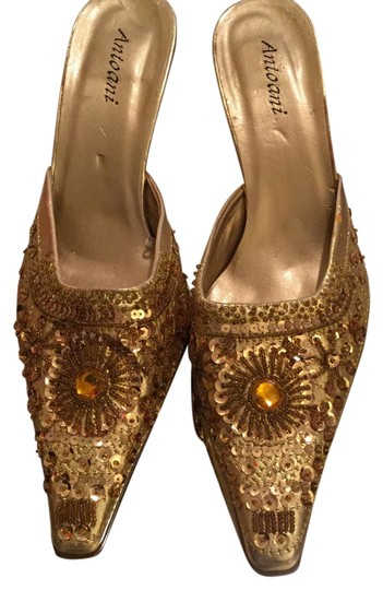 Antoani Holiday Bling Light NEW Artistic Yellow Gold Leather Beads Sequins & Rhinestones Mules