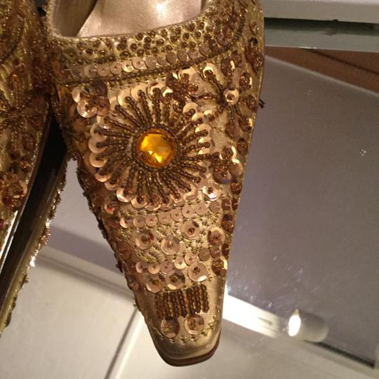 Antoani Holiday Bling Light Catcher NEW Artistic Yellow Gold Leather Beads Sequins & Rhinestones Mules Image 1