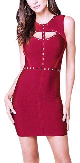 Item - Red New Leah Studded Keyhole Cutout Bandage Bodycon Short Night Out Dress Size 4 (S)