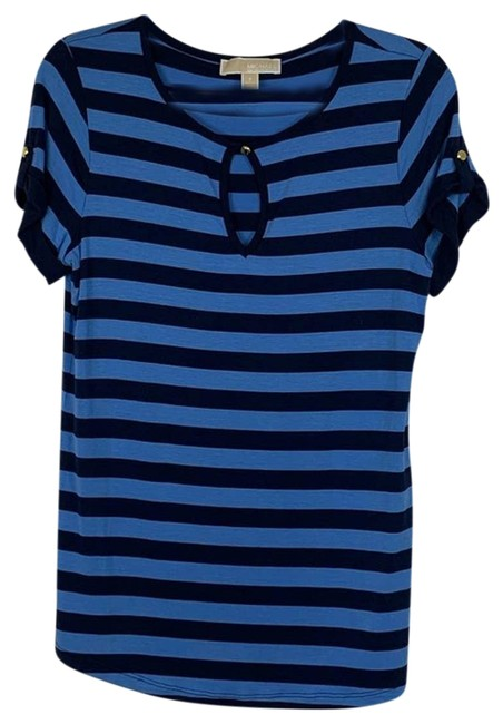 Item - Blue Striped Soft Knit Small Tee Shirt Size 4 (S)