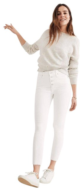 """Item - White 9"""" Mid-rise Pure Skinny Jeans Size 28 (4, S)"""