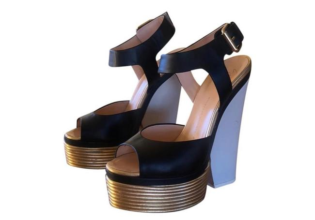 Item - Black Gold and White Vero Cuoio Platforms Wedges Size EU 37.5 (Approx. US 7.5) Regular (M, B)