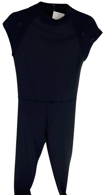 Item - Black Mesh Accent Sleeveless Jumpsuit Womens Xsmall Activewear Bottoms Size 0 (XS, 25)