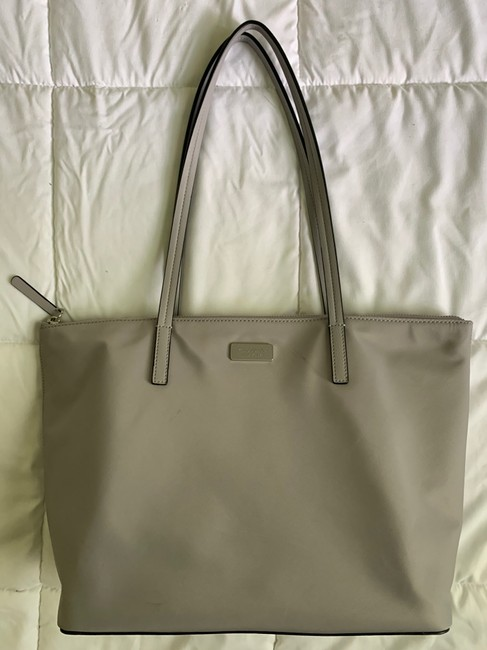 Item - Leather Gray Silver and Pink Nylon Tote