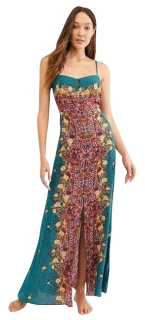 Item - Green Blue Morning Floral Print Long Casual Maxi Dress Size 0 (XS)