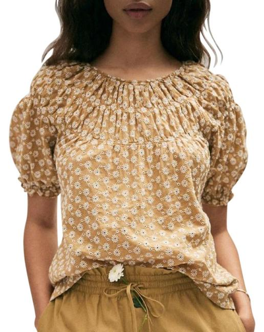 Item - Tan White Daisy Embroidered Shirred Puff Sleeve Blouse Size 8 (M)