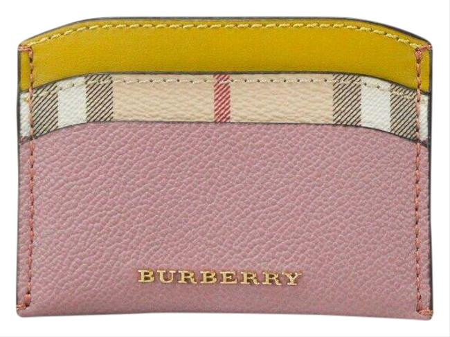 Item - Dusty Pink Multi Horseferry Haymarket Check Izzy Leather Card Case Wallet