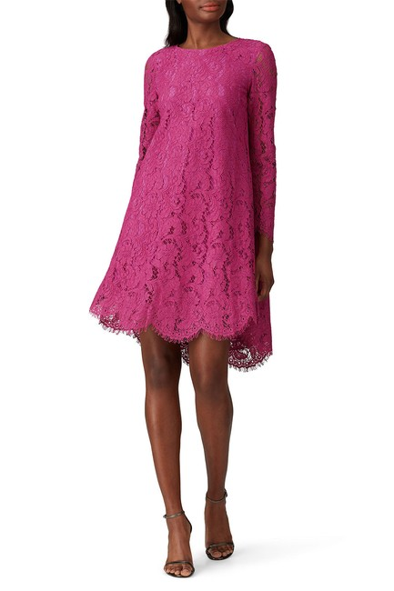 Item - Pink Collective Floral Lace Long Sleeve Trapeze Short Cocktail Dress Size 4 (S)