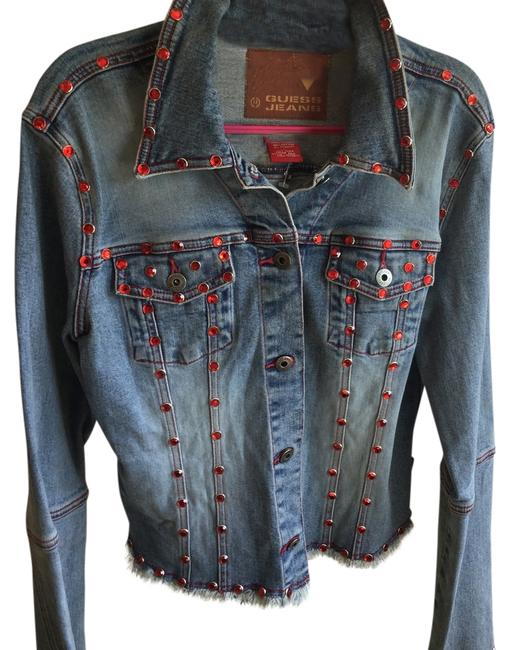 Guess Ruby Jewels Rhinestones Jean Bejeweled Collectable Womens Jean Jacket