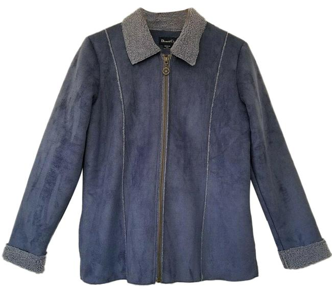 Item - Blue Co Womens Faux Shearling Suede Medium Zip Front Jacket Size 8 (M)