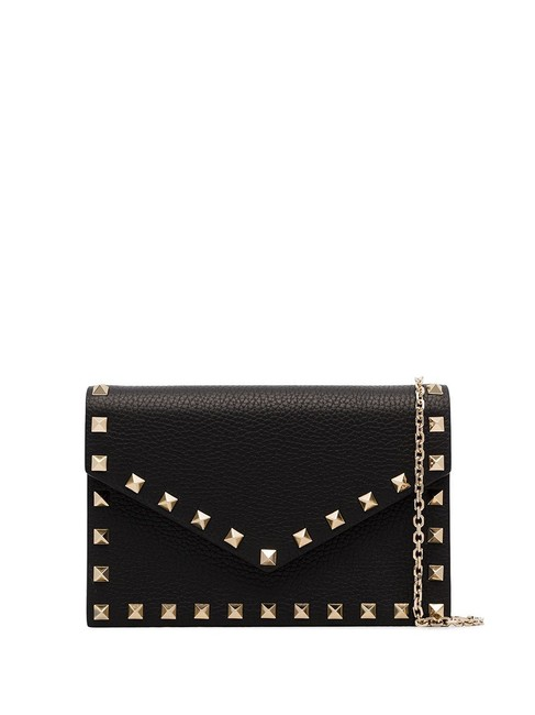 Item - Rockstud Envelope Pouch with Chain Black Leather Cross Body Bag