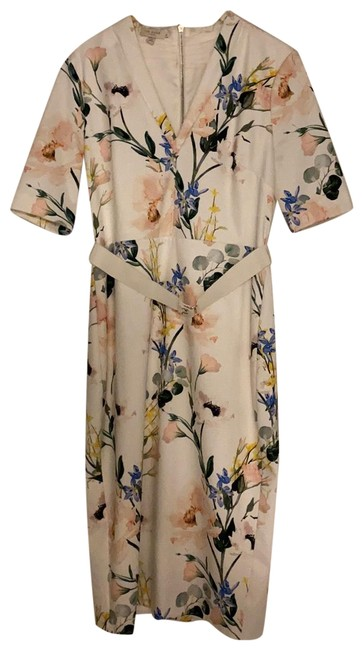 Item - White Background with Multicolored Floral Pattern. Watercolor Midi Belt Detailing and Sleeves. Mid-length Cocktail Dress Size 8 (M)