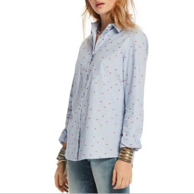 Item - Blue Embroidered Lips Shirt Button-down Top Size 2 (XS)