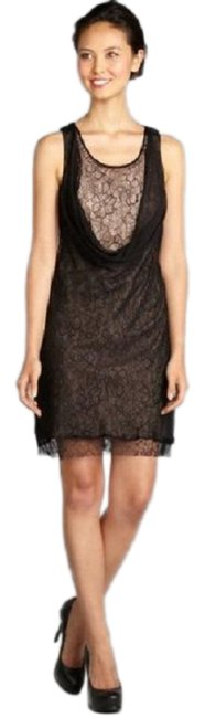 Item - Black Nude XS Draped Cowl-neck Stretch Lace Overlay Short Cocktail Dress Size 0 (XS)