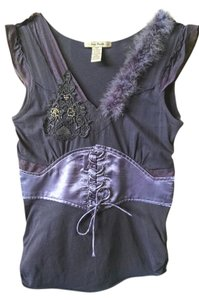 Free People Beaded Feathers Tie Front Sleeveless Top Purple