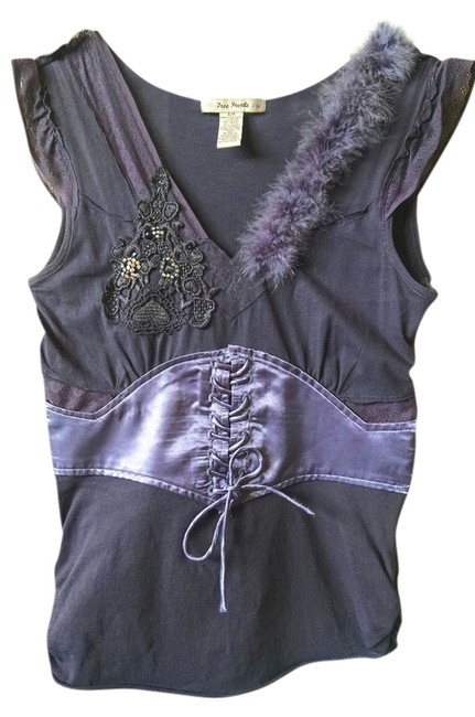 Preload https://item4.tradesy.com/images/free-people-beaded-feathers-tie-front-top-purple-2912983-0-0.jpg?width=400&height=650