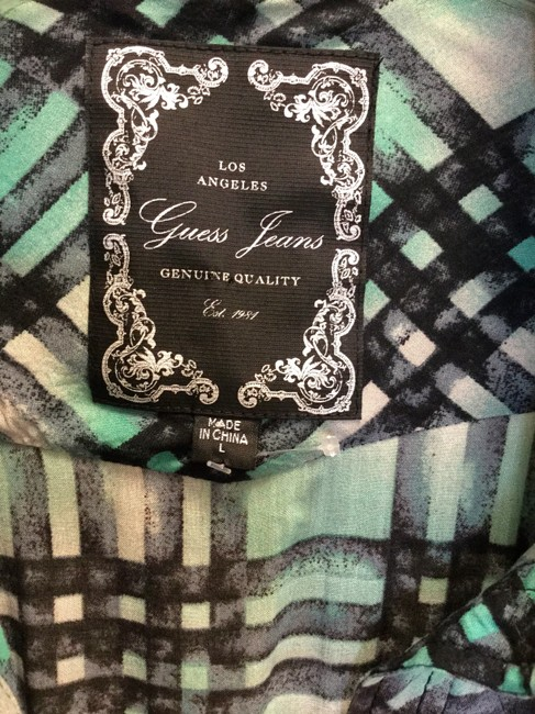 Guess Top Green Black Gray Fitted Shirt