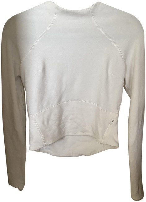 Item - White Cropped Workout Shirt Activewear Top Size 4 (S)