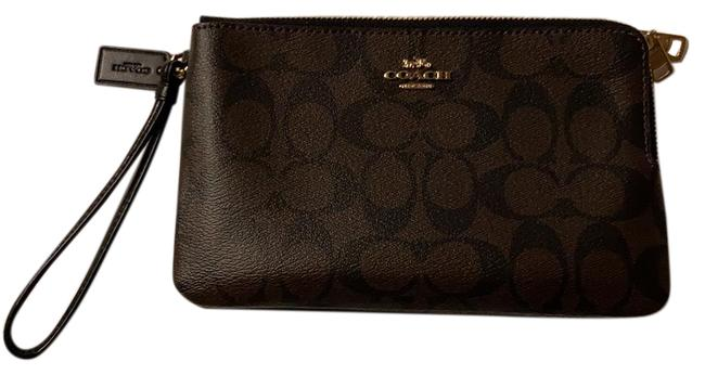 Item - Monogram Two Compartment Brown and Black Leather Wristlet