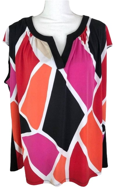 Item - Pink Color Block Career 2x Blouse Size 22 (Plus 2x)