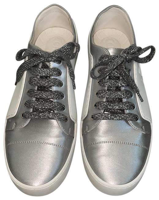 Item - White/Silver Rubber Trainers Flat Sneakers Size EU 40 (Approx. US 10) Regular (M, B)