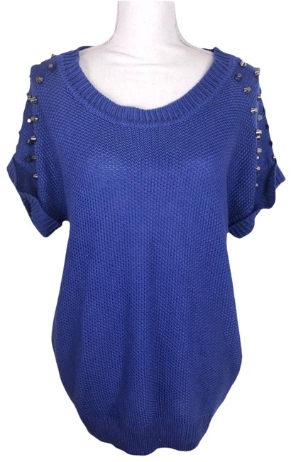 Item - Studded Heavy Knit Short Sleeves Size Medium Blue Sweater